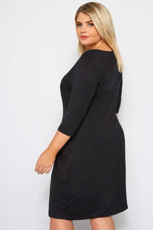 Black Button Drape Pocket Dress