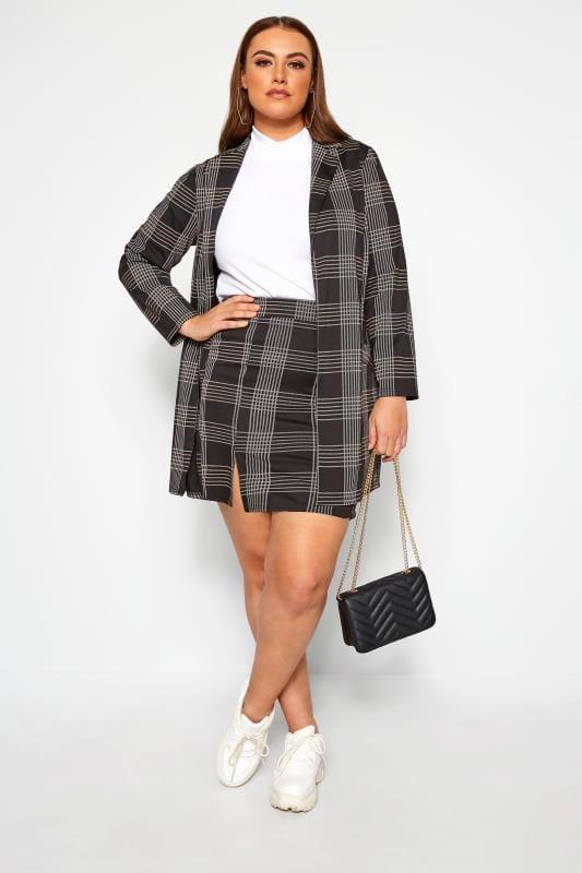 Faldas cinturilla elástica Tallas Grandes LIMITED COLLECTION Minifalda negra de cuadros