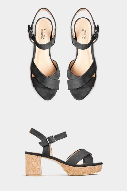 LIMITED COLLECTION Black Cork Heeled Platform Sandals In Extra Wide Fit