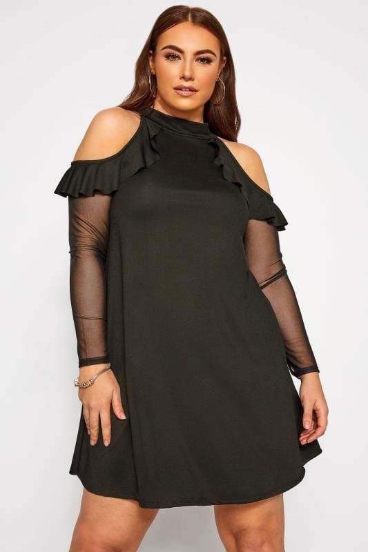 Plus Size Black Dresses LIMITED COLLECTION Black Crepe Cold Shoulder Mesh Sleeve Frill Dress