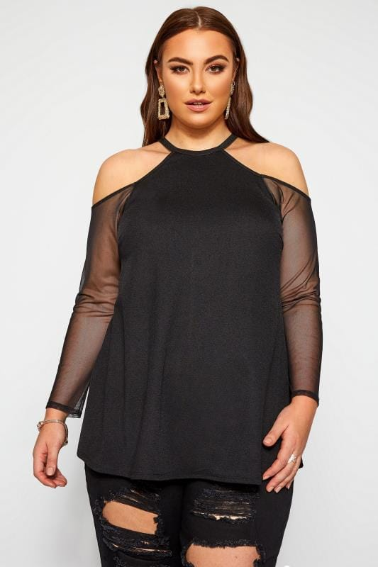 Plus Size Bardot & Cold Shoulder Tops LIMITED COLLECTION Black Crepe Cold Shoulder Mesh Sleeve Top