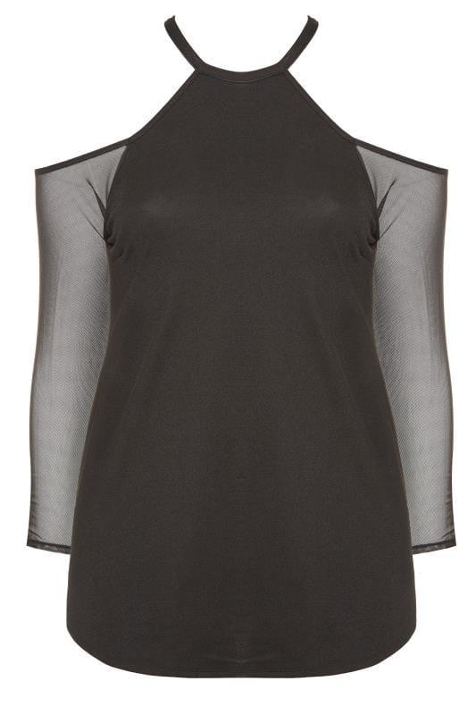 Tops Épaules Dénudées Grande Taille LIMITED COLLECTION Black Crepe Cold Shoulder Mesh Sleeve Top
