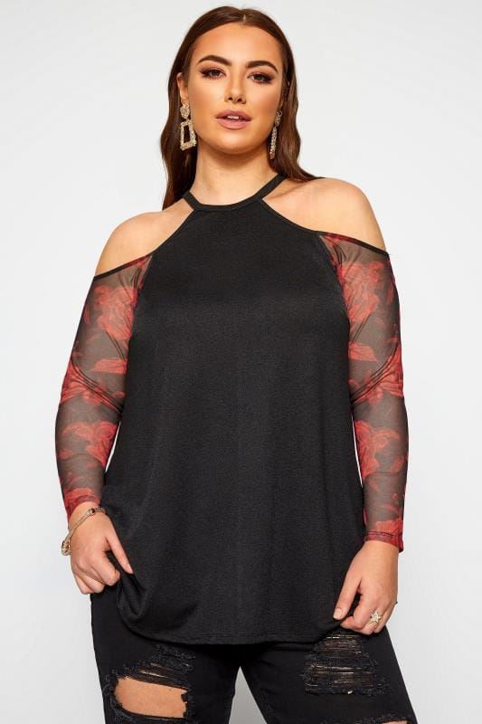 Plus Size Bardot & Cold Shoulder Tops LIMITED COLLECTION Black Crepe Cold Shoulder Rose Mesh Sleeve Top