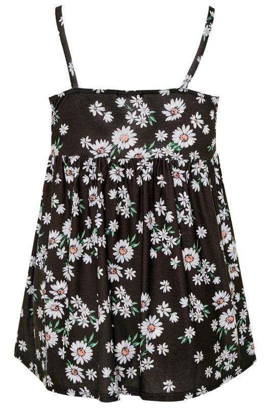 LIMITED COLLECTION Black Daisy Print Smock Vest Top