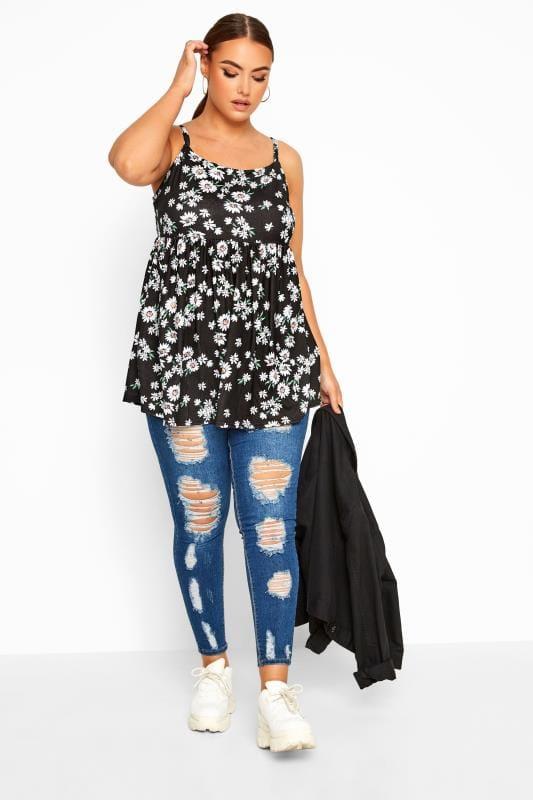Plus Size Vests & Camis LIMITED COLLECTION Black Daisy Print Smock Vest Top