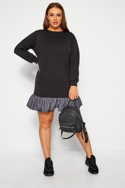 Plus Size Black Dresses LIMITED COLLECTION Black Denim Frill Hem Dress