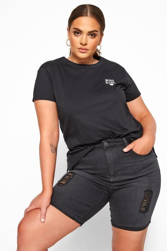 Jeansshort met destroyed effect in zwart