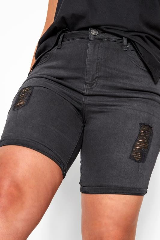 LIMITED COLLECTION Black Distressed Denim Shorts