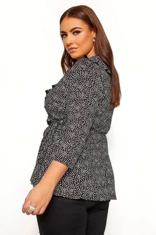 LIMITED COLLECTION Black Ditsy Daisy Print Wrap Top