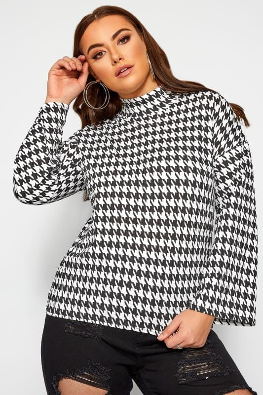 Plus Size Jersey Tops LIMITED COLLECTION Black Dogtooth Check Wide Sleeve Top