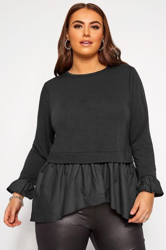 Plus Size Sweatshirts LIMITED COLLECTION Black Double Layer Sweatshirt