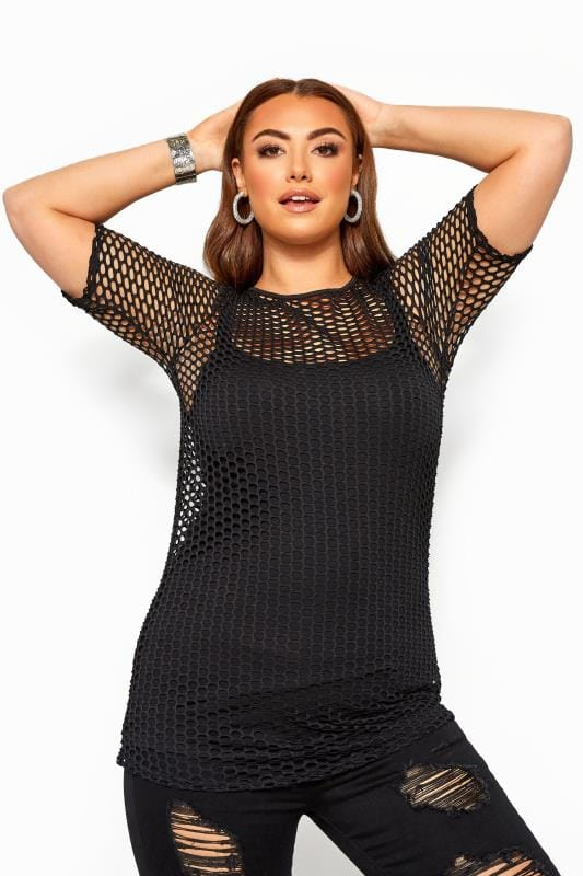 Plus Size Day Tops LIMITED COLLECTION Black Fishnet Top