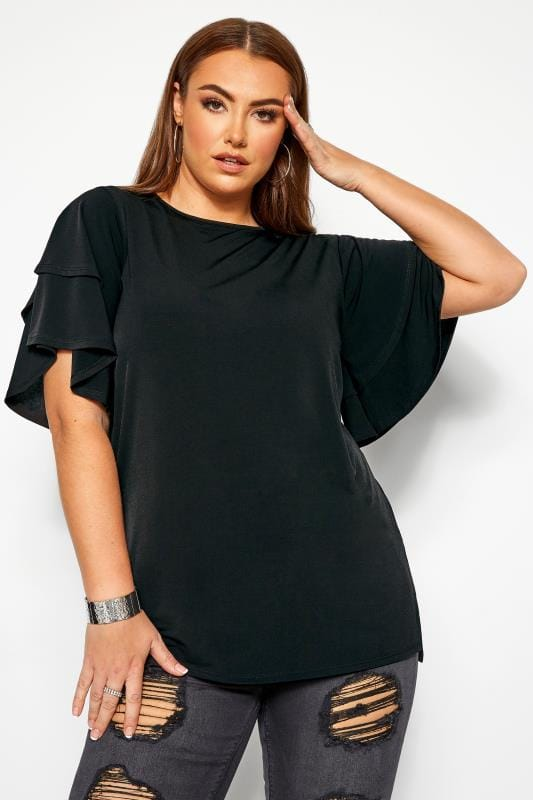 Beauty Tallas Grandes LIMITED COLLECTION Black Flared Angel Sleeve Top