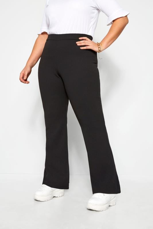 Plus Size Wide Leg & Palazzo Trousers LIMITED COLLECTION Black Flared Trousers