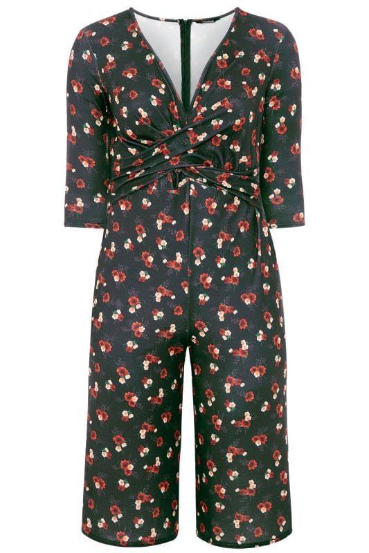 Monos Tallas Grandes LIMITED COLLECTION Black Floral Culotte Jumpsuit
