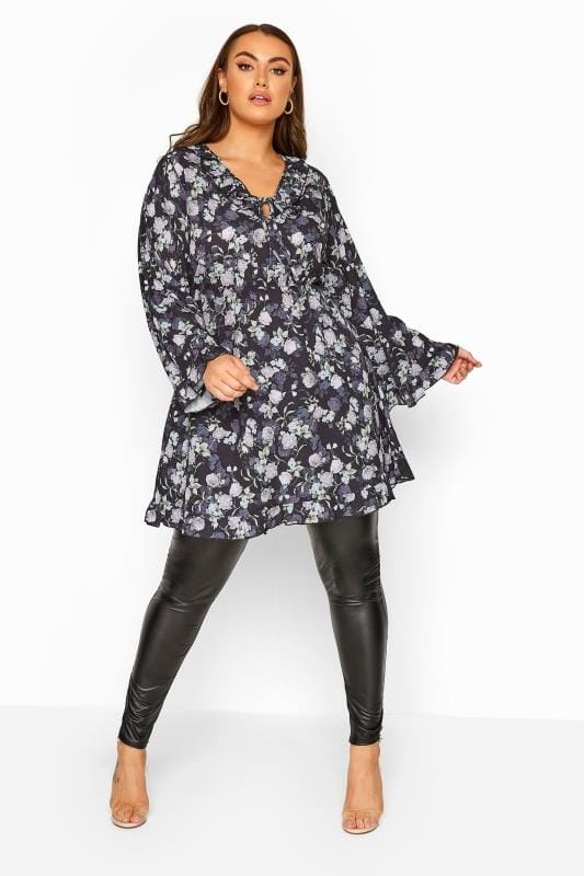 Plus Size Black Dresses LIMITED COLLECTION Black Floral Frill Smock Dress
