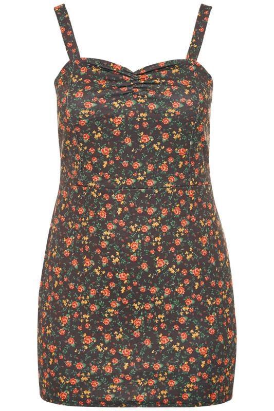 LIMITED COLLECTION Trägerkleid mit Blumen-Muster - Schwarz