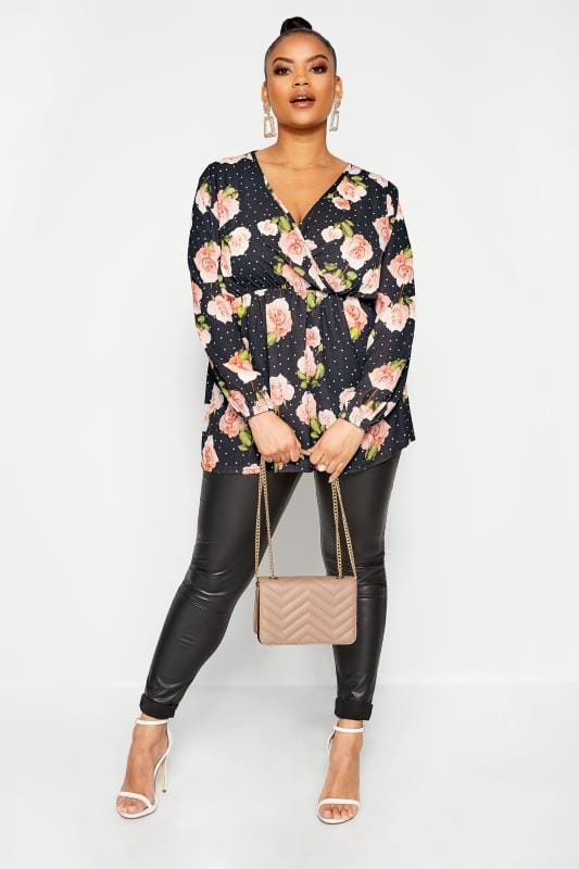 LIMITED COLLECTION Black Floral Polka Dot Wrap Top