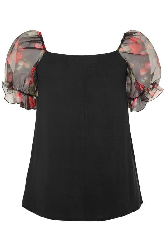 LIMITED COLLECTION Black Floral Print Organza Puff Sleeve Top