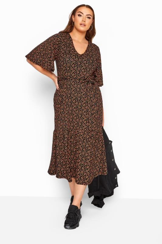 Plus Size Maxi Dresses LIMITED COLLECTION Black Floral Print Tiered Maxi Smock Dress