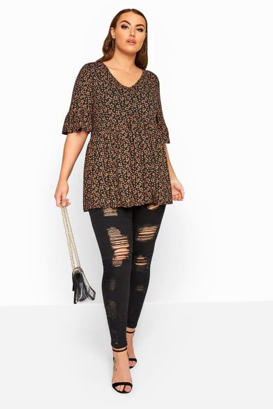 LIMITED COLLECTION Black Floral Print Smock Top