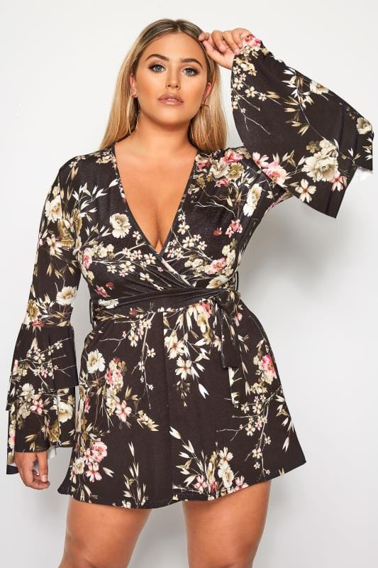 LIMITED COLLECTION Black Floral Wrap Frill Sleeve Dress