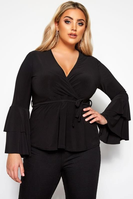 Plus Size Party Tops LIMITED COLLECTION Black Frill Sleeve Wrap Top