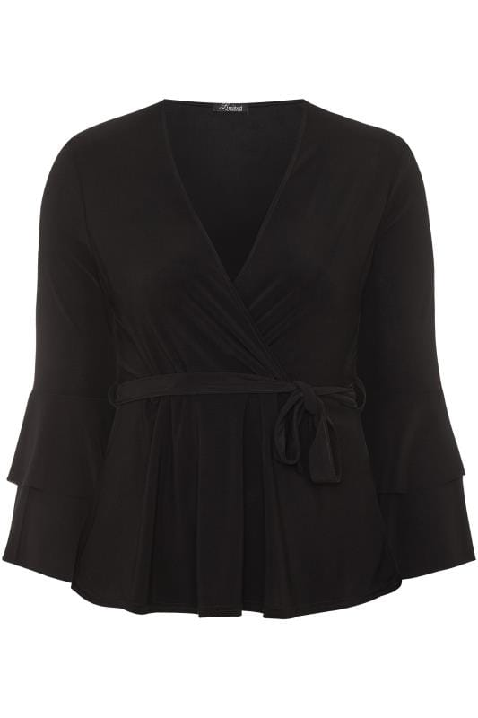 LIMITED COLLECTION Black Frill Sleeve Wrap Top