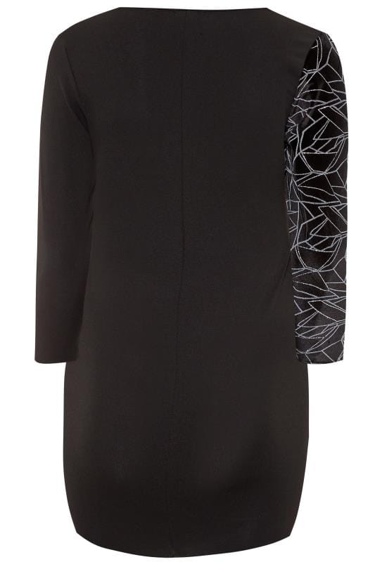 LIMITED COLLECTION Black Glitter Velour Wrap Dress