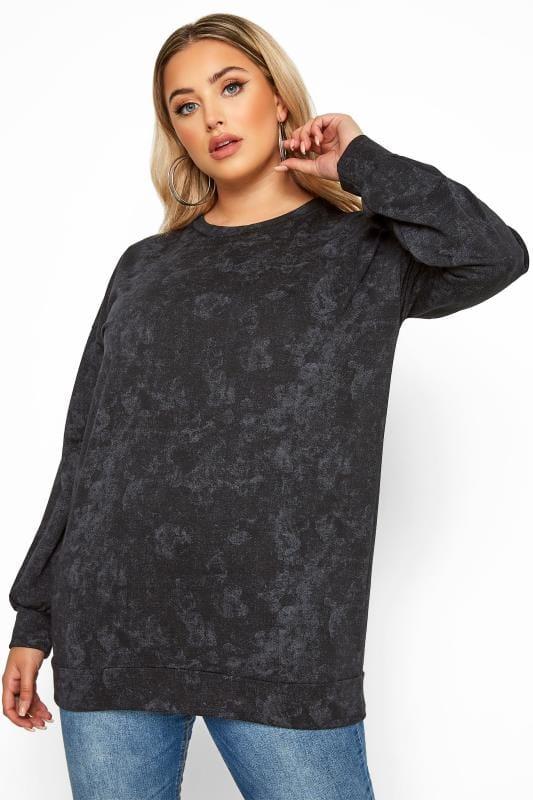 LIMITED COLLECTION Black & Grey Tie Dye Sweatshirt