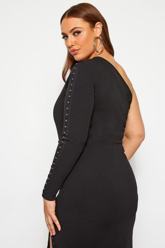 Plus Size Party Tops LIMITED COLLECTION Black Hook & Eye One Shoulder Bodysuit