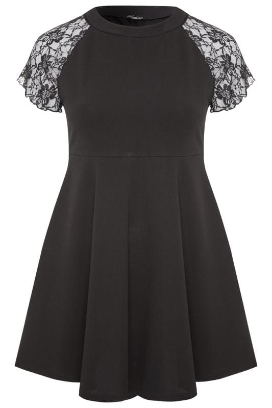 LIMITED COLLECTION Black Lace Shoulder Scuba Dress
