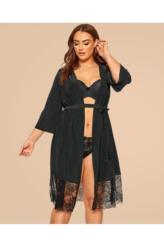 Plus Size Sexy Lingerie LIMITED COLLECTION Black Lace Soft Touch Robe
