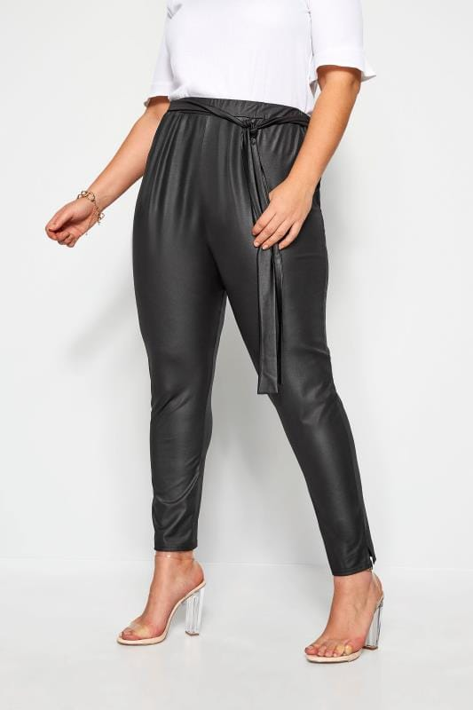 Plus Size Tapered & Slim Fit Trousers LIMITED COLLECTION Black Leather Look Belted Trousers