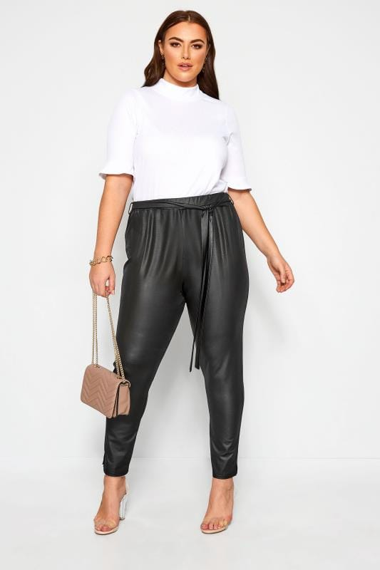 LIMITED COLLECTION Black Leather Look Belted Trousers