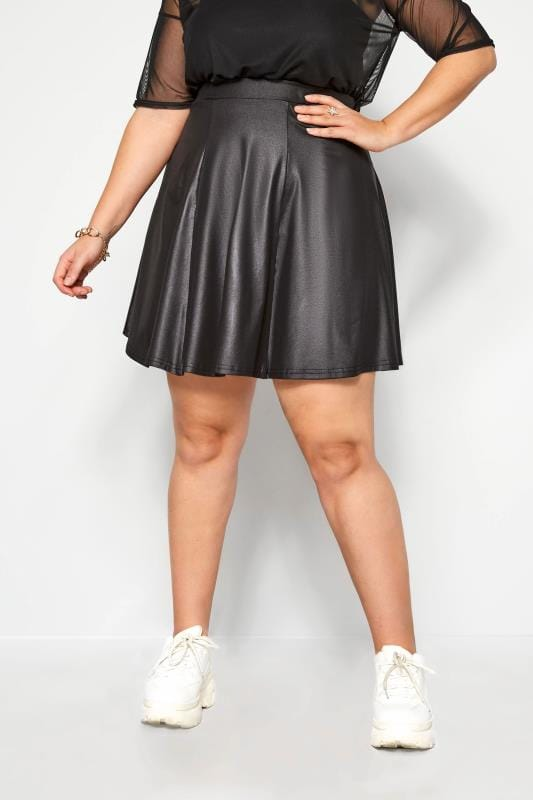 Plus Size Skater Skirts LIMITED COLLECTION Black Leather Look Skater Skirt