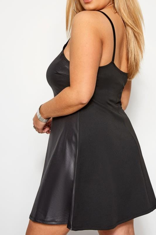 LIMITED COLLECTION Black Leather Look Strappy Pinafore Dress
