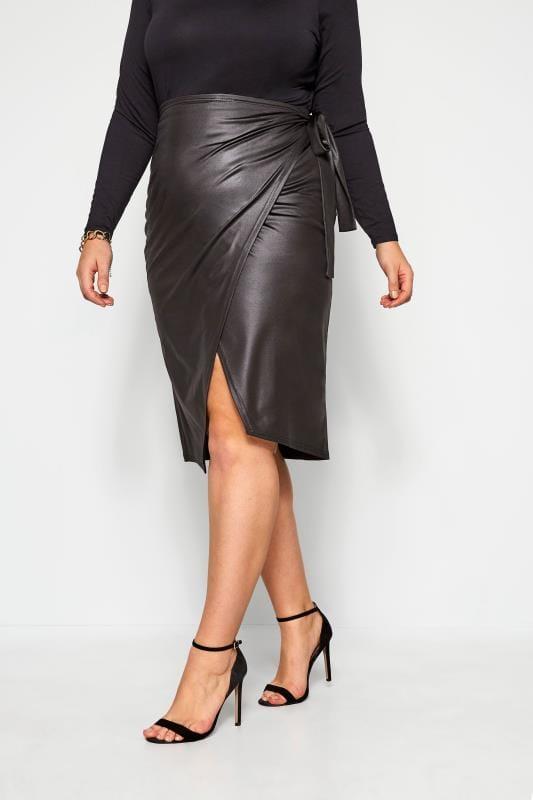 Большие размеры | Midi Skirts LIMITED COLLECTION Black Leather Look Tie Waist Wrap Skirt