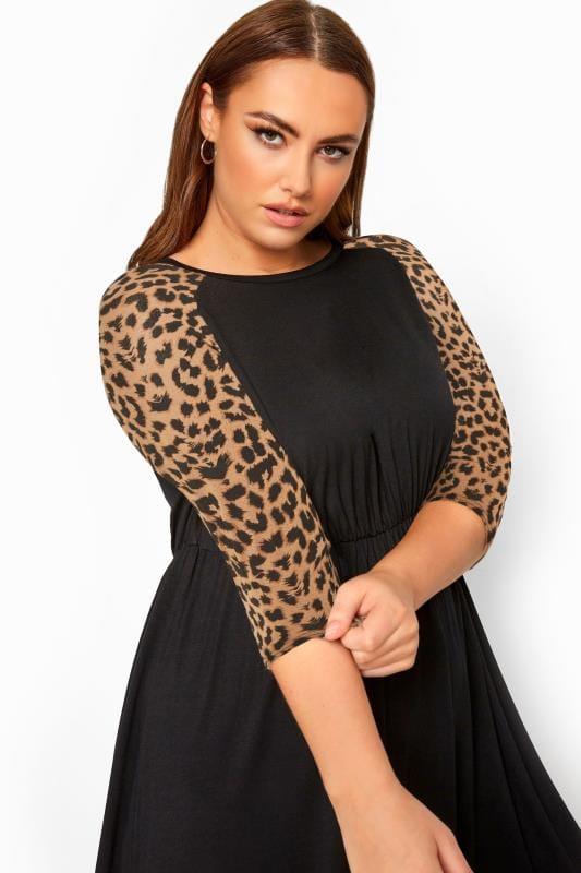 LIMITED COLLECTION Black Leopard Print Raglan Skater Dress