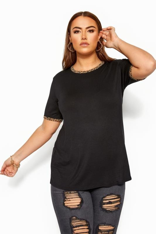 LIMITED COLLECTION Black Leopard Print Trim Top