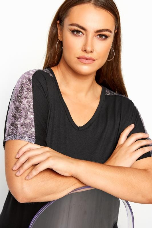 LIMITED COLLECTION Black Leopard Sequin Top