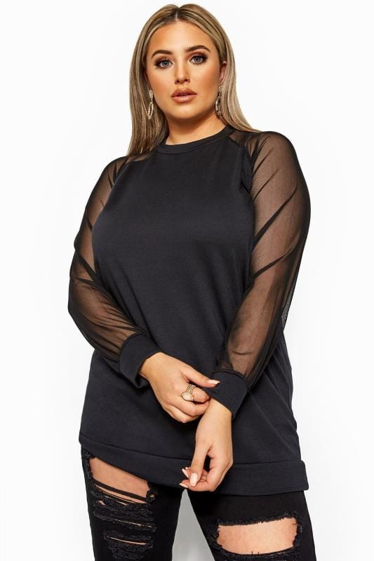 LIMITED COLLECTION Black Mesh Sleeve Sweatshirt
