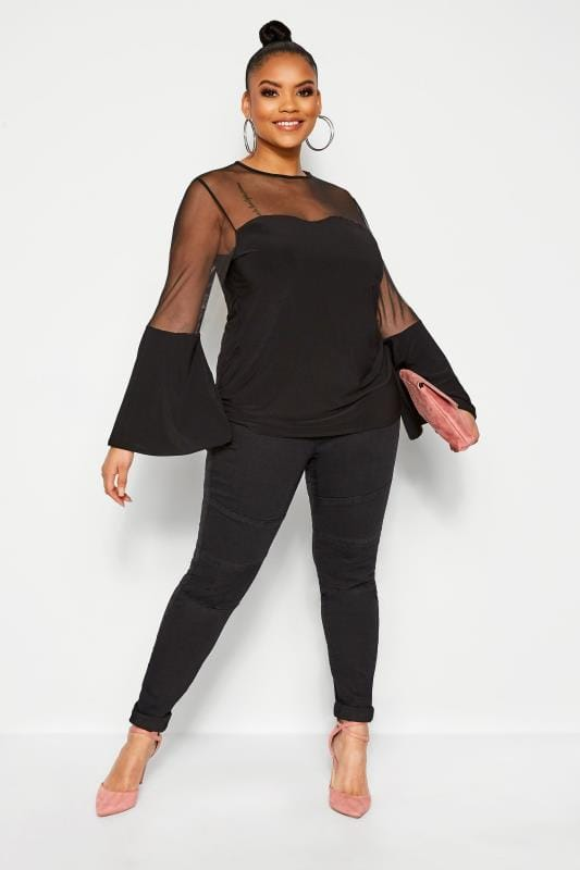 Plus Size Party Tops LIMITED COLLECTION Black Mesh Sweetheart Flare Sleeve Top