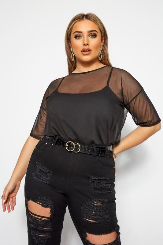Plus Size Party Tops LIMITED COLLECTION  Black Mesh Top
