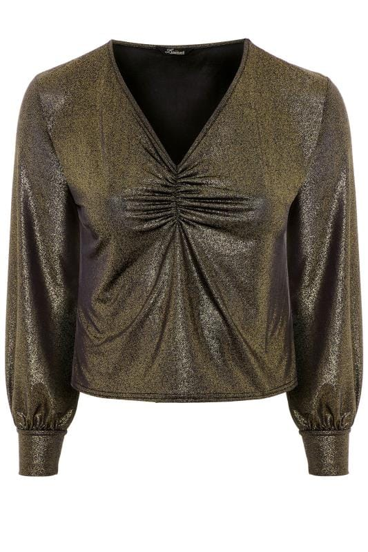 LIMITED COLLECTION Black Metallic Ruched Front Top