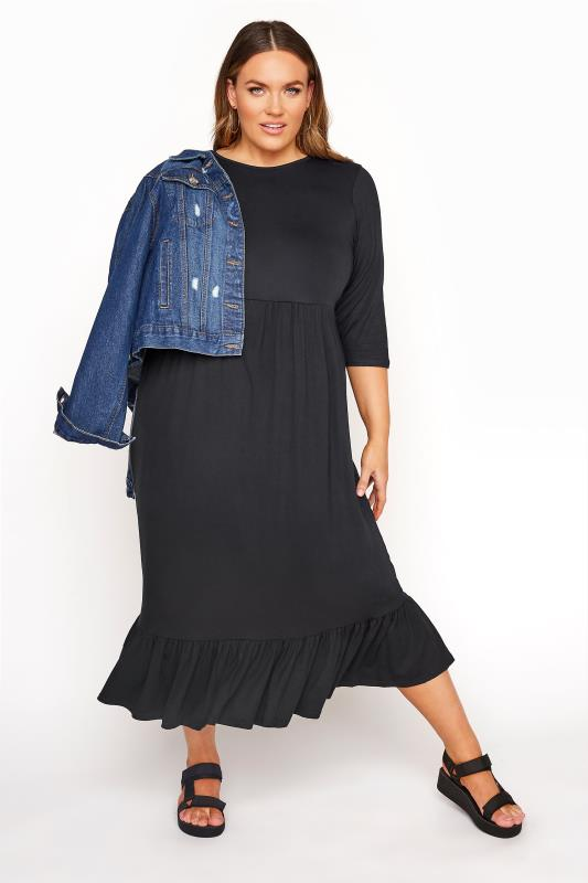 LIMITED COLLECTION Black Midi Smock Dress