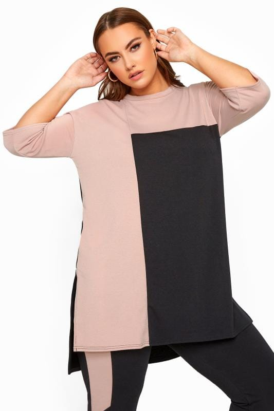 Plus Size Loungewear LIMITED COLLECTION Black & Blush Pink Colour Block Lounge Top