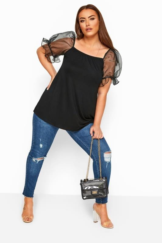 LIMITED COLLECTION Black Organza Puff Sleeve Top