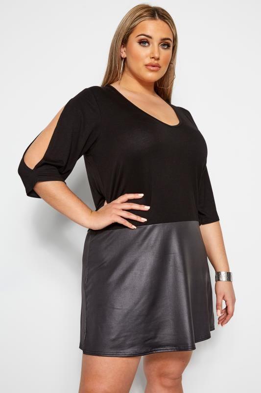 LIMITED COLLECTION Black PU Hem Split Sleeve Dress