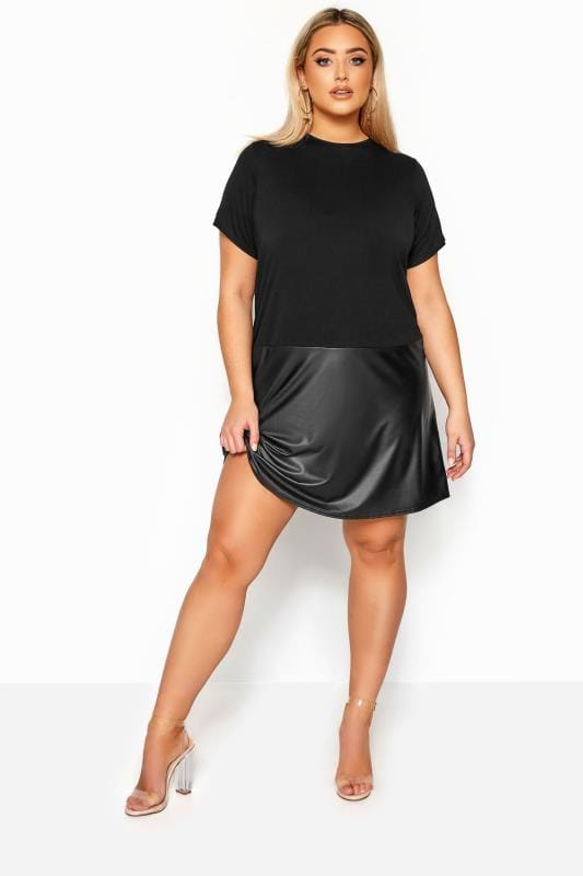 LIMITED COLLECTION Black PU Hem T-Shirt Dress